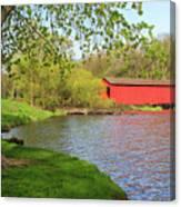 Covered Bridge Over The Lake Canvas Print