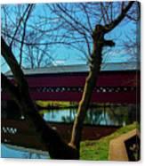 Covered Bridge Vivid Afternoon Canvas Print
