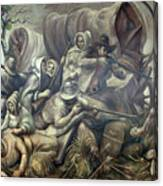 Covered Wagon Attacked By Indians Canvas Print