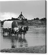 Covered Wagon River Ford And Cable Ferry 1903 Canvas Print