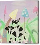 Cow And Crow In The Land Of Mushrooms Canvas Print