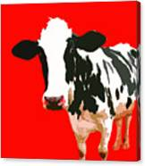 Cow In Red World Canvas Print