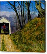 Cowboy And Covered Bridge Canvas Print