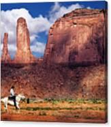 Cowboy And Three Sisters Canvas Print