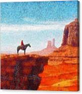 Cowboy At Monument Valley In Utah - Da Canvas Print