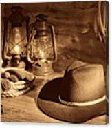 Cowboy Hat And Kerosene Lanterns Canvas Print