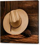 Cowboy Hat And Gear Canvas Print