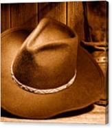 Cowboy Hat - Sepia Canvas Print