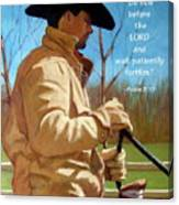 Cowboy In Pastel With Scripture Verse Canvas Print