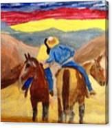 Cowboy Kisses Cowgirl Canvas Print
