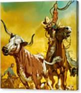 Cowboy Lassoing Cattle  Canvas Print