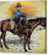 Cowboy N Sunset Canvas Print