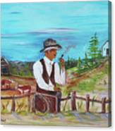 Cowboy On The Farm Canvas Print