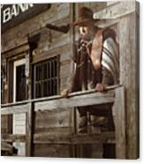 Cowboy Waiting Outside Of A Bank Building Canvas Print