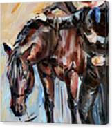 Cowboy With His Horse Canvas Print