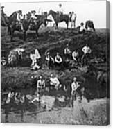 Cowboys Bathing Canvas Print