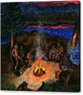 Cowboys Mountain Camp at Night Canvas Print