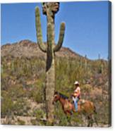 Cowgirl And The Crested Saguaro Canvas Print