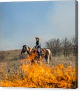 Cowgirl Watching Over Burn Canvas Print