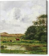 Cows In A Meadow Canvas Print