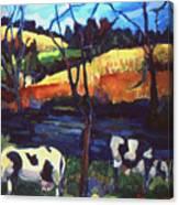 Cows In Landscape Canvas Print