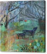 Cows In The Olive Grove Canvas Print