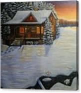 Cozy Winter Cabin  Canvas Print