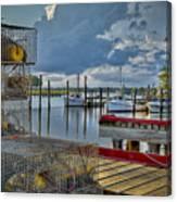 Crabpots And Fishing Boats Canvas Print