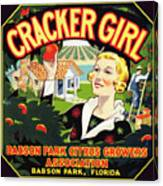 Cracker Girl Citrus Crate Label C. 1920 Canvas Print