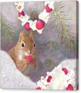 Cranberry Garlands Christmas Squirrel Canvas Print