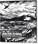 Crane Flying Past The Cedar Breaks Canvas Print