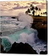 Crashing Waves At Sunset Canvas Print