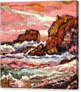 Crashing Waves At Sunset  Majestic Seascape Canvas Print