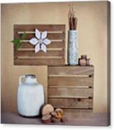 Crates With Flower Still Life Canvas Print
