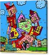 Crazy Building Popart By Nico Bielow Canvas Print