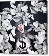 Crazy Clown Excited To Hold A Bag Of Money Canvas Print