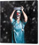 Crazy Doctor Clown Laughing In Rain Canvas Print