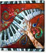 Crazy Fingers- Piano Keyboard - Bordered Canvas Print