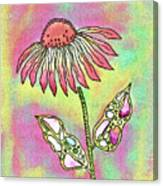 Crazy Flower With Funky Leaves Canvas Print
