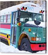 Crazy Painted Old School Bus In The Snow Canvas Print