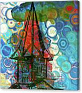 Crazy Red House In The Clouds Whimsy Canvas Print