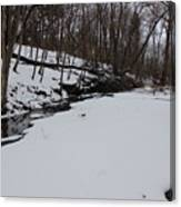 Creeks Battles The Snow And Cold To Remain Flowing. Canvas Print