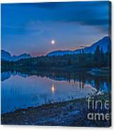 Crescent Moon Over Middle Lake In Bow Canvas Print