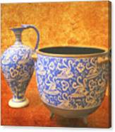 Crete Blue And Gold Jug And Bowl Canvas Print