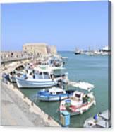 Crete Island Harbour  Canvas Print