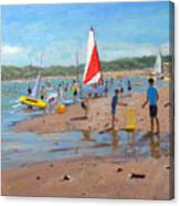Cricket And Red And White Sail Canvas Print