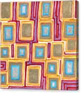 Crimson Gold And Squares  Canvas Print