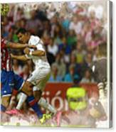 Cristiano Ronaldo Heads The Ball During The Spanish League Footb Canvas Print