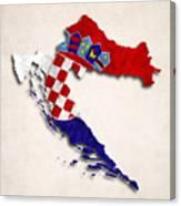 Croatia Map Art With Flag Design Canvas Print