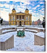 Croatian National Theater In Zagreb Winter View Canvas Print